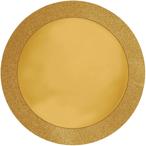 """Club Pack of 96 Gold Glitz Round Sparkly Christmas Disposable Placemats 14"""""""