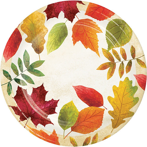 Creative Converting Colorful Leaves, 7 Inch Round Paper Plates, Box of 96