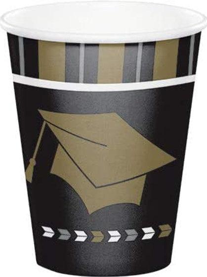 Graduation Party Glitzy Grad 9oz Hot/Cold Printed Paper Cups, Box 96 Paper Cups