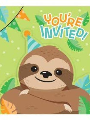 Sloth Birthday Party Supplies, Baby Sloth Party Printed Paper Invites, Box of 48