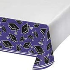 Graduation School Spirit Purple Color Printed Plastic Tablecover 54in x 102in, B