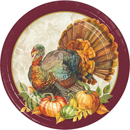 Creative Converting Traditional Turkey, 7 Inch Round Paper Plates, Box of 96