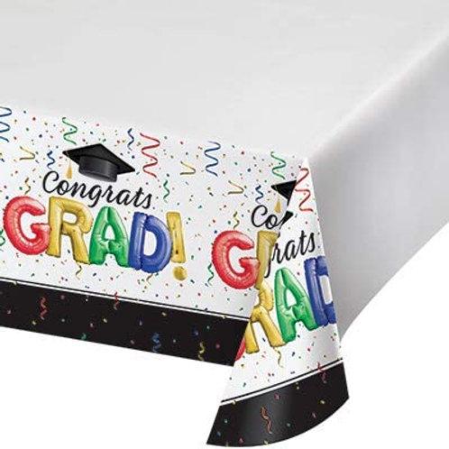 """Creative Converting #1 Grad Plastic Tablecloth 54"""" x 102"""" Multi-colored"""
