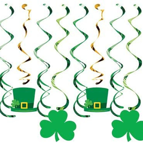 Beistle Club Pack St. Patrick's Day Holiday Deluxe Assorted Hanging Whirls with