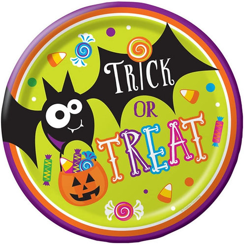 """Pack of 96 Gone Batty Multicolor Halloween""""Trick or Treat"""" Dinner Plates 9"""""""