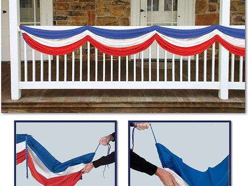 Beistle Patriotic Bunting Fabric, Indoor/Outdoor Fabric Bunting, Pack 6