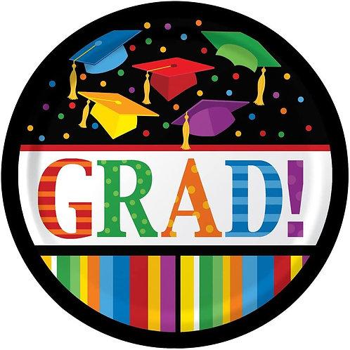 "Club Pack of 180 Graduation Fest""Grad!"" Disposable Paper Lunch Plates 7"""