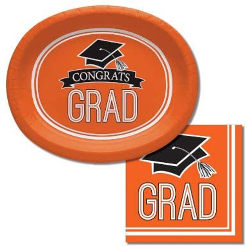 Baxters Bundle Graduation Party Supplies, Orange Color Oval Platter and Luncheo