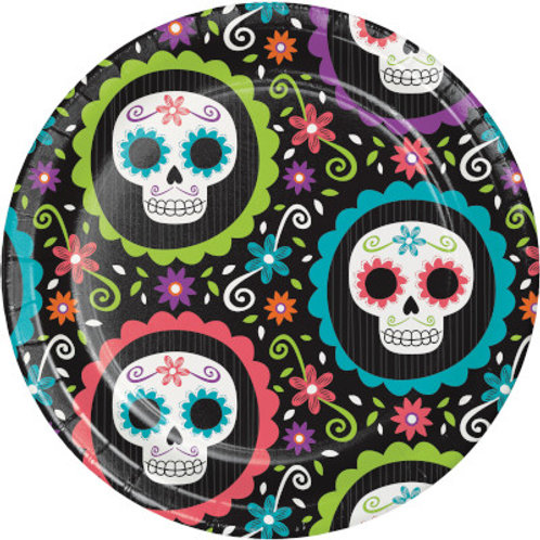 Creative Converting Day of the Dead, 7 Inch Round Paper Plates, Box of 96