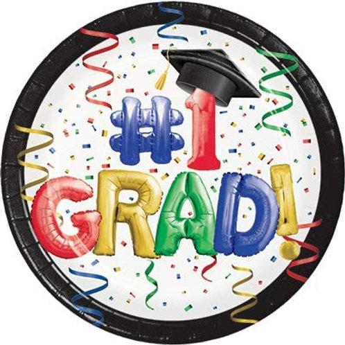 """Creative Converting #1 Grad Paper Plates 9"""" Multi-colored Size:9"""""""