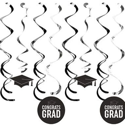 Graduation Party Decoration Black School Color Deluxe Assorted Whirls, Box of 96