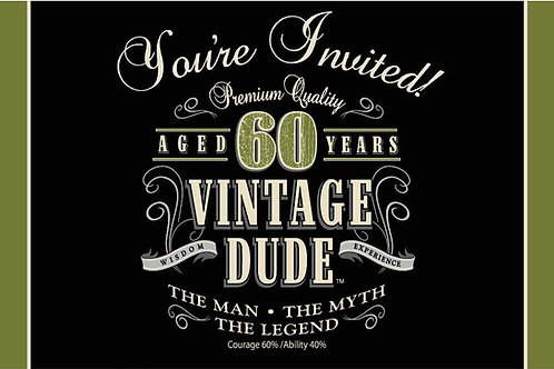 """Pack of 48 Vintage Dude 60th Birthday Party Gatefold Paper Invitations 6"""""""
