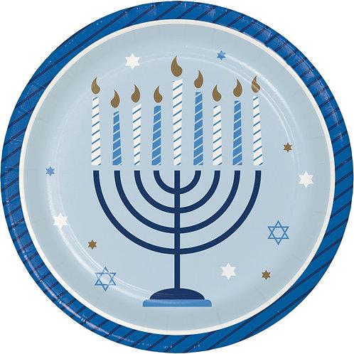 Creative Converting Hanukkah Celebration, 7 Inch Round Paper Plates, Box of 96