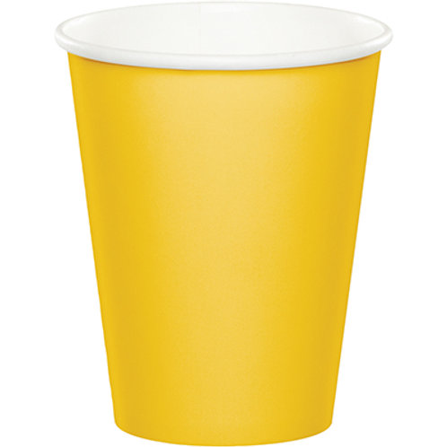 Club Pack of 240 School Bus Yellow Disposable Paper Hot and Cold Party Tumbler