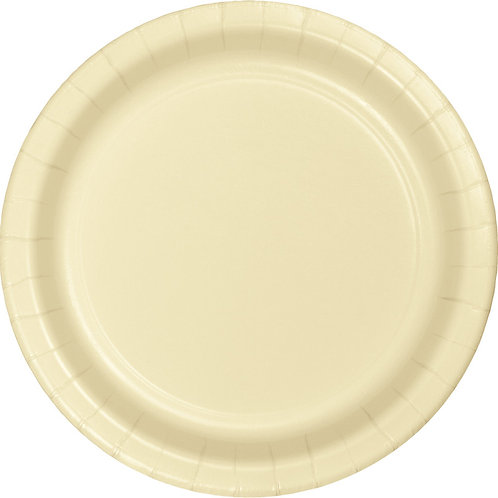 """Ivory Yellow Disposable Paper Party Lunch Plates 7"""""""