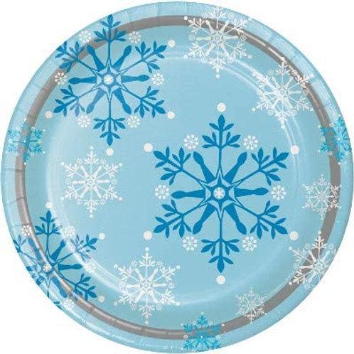 Snow Princess Birthday Party Decorations, Snowflake Design 9 Inch Round Paper P