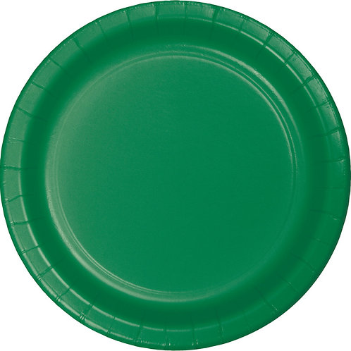 """Emerald Green Disposable Paper Party Lunch Plates 7"""""""