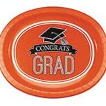 Graduation School Spirit Orange Color Printed 10in x 12in Oval Paper Plates, Box