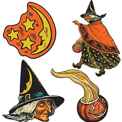 Club Pack of 48 Spooky Pumpkin, Witch Moon and Stars Cutout Halloween Decoratio