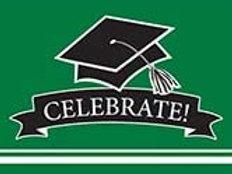 Graduation School Spirit Emerald Green Color Printed Party Invitations, Box of 7