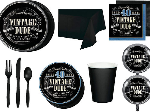 Baxters Party Bundle Bulk, Vintage Dude 40th Birthday Stacked 32 People, 2 Size