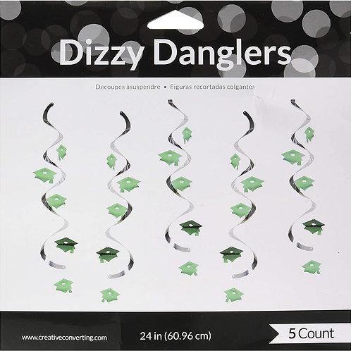 Club Pack of 30 Emerald Green Mortar Board Cap Hat Graduation Day Dizzy Dangler