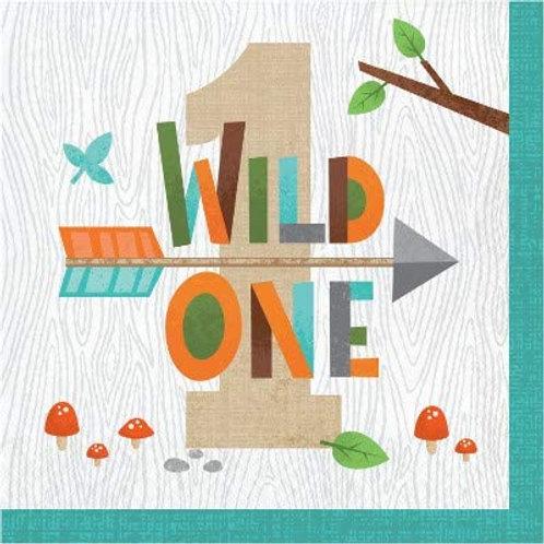 Woodland Animal Creatures Party Supplies, Wild One 1st Birthday Luncheon Napkin