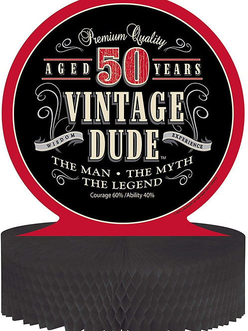 """Pack 12 Black and Red Vintage Dude 50 Years Honeycomb Party Centerpiece 11.5"""""""