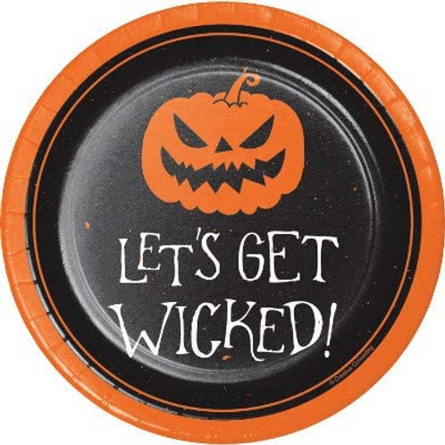 Halloween Party Decorations, Let's Get Wicked Theme Printed 7 Inch Round Paper P