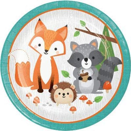 Woodland Animal Creatures Party Supplies, Wild One Birthday 9 Inch Round Paper