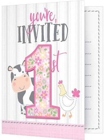 Pack Farmhouse 1st Birthday Printed Folded Party Invitations, Box of 48