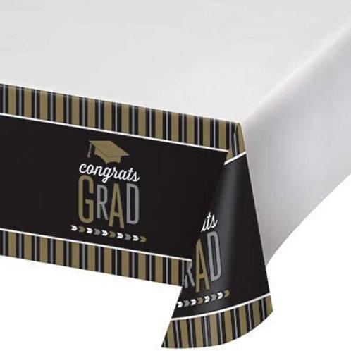 Graduation Party Glitzy Grad Printed Plastic Tablecover 54in x 102in, Box 12 Pri