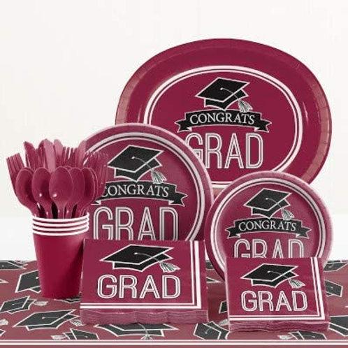 Baxters Party Bundle Graduation Party, Burgundy Color Bundle for 18 People, Box