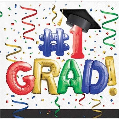 """Creative Converting #1 Grad Napkins 6.5"""" Multi-colored Size:6.5"""""""