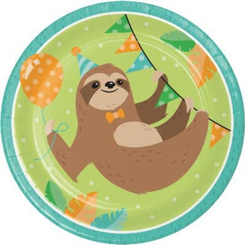 Sloth Birthday Party Supplies, Baby Sloth Birthday Party Printed 9 Inch Round P