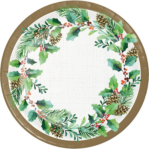 Creative Converting Golden Holly, 7 Inch Round Paper Plates, Box of 96