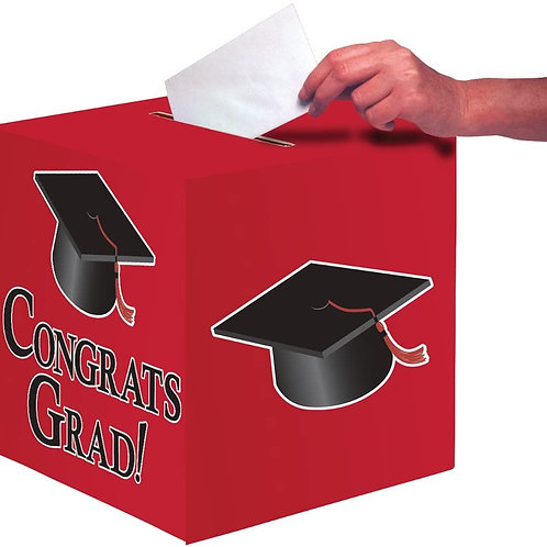 Club Pack of 6 Classic Red Congrats Grad Decorative Graduation Party Card Boxes