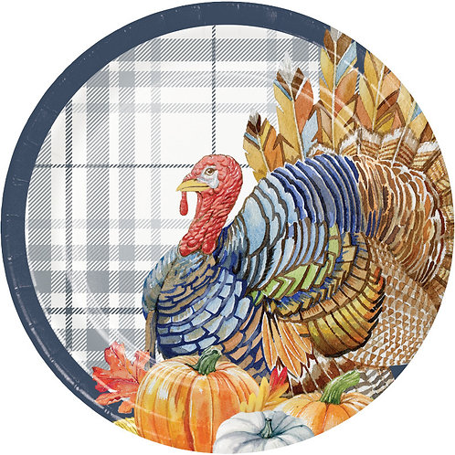 Creative Converting Thanksgiving Elegance, 7 Inch Round Paper Plates, Box of 96