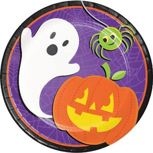 Halloween Party Decorations, Halloween Skeleton Theme Printed 7 Inch Round Pape