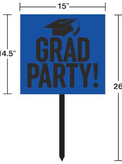 Graduation Party Yard Sign Blue and Black