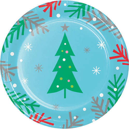 Creative Converting Holiday Whimsy, 7 Inch Round Paper Plates, Box of 96