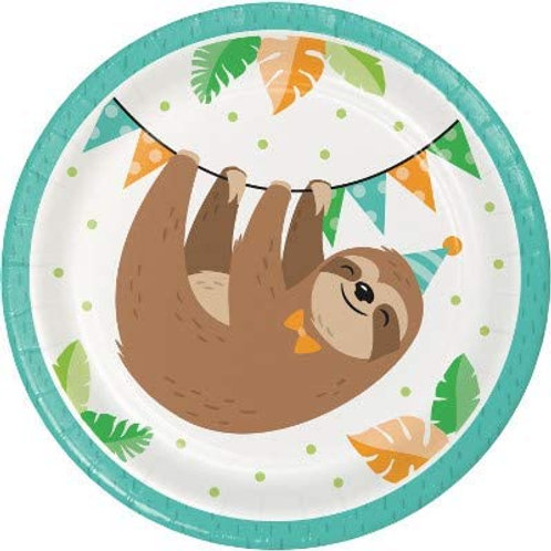 Sloth Birthday Party Supplies, Baby Sloth Birthday Party Printed 7 Inch Round P