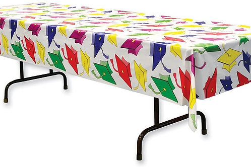 Club Pack of 12 Graduation Disposable Rectangle Plastic Banquet Party Table Cov