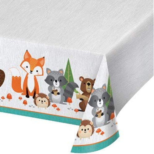 Woodland Animal Creatures Party Supplies, Wild One Birthday Printed Plastic Tab