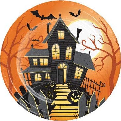 Halloween Party Decorations, Halloween Haunted House Theme Printed 9 Inch Round