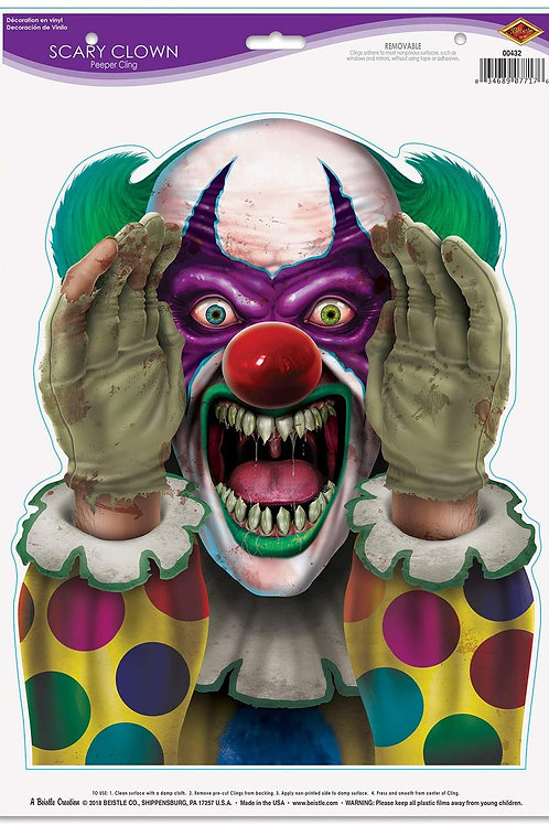 Beistle Halloween Decorations Party Favors, Scary Clown Peeper Cling 12 Inch x