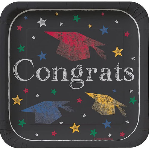 """Club Pack of 96 Chalk It Up Grad""""Congrats"""" Square Disposable Paper Lunch Plates"""