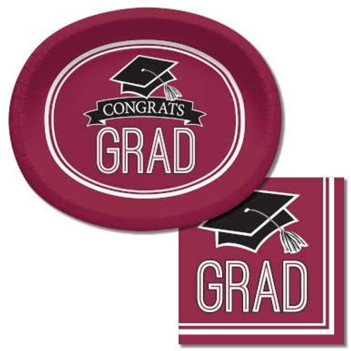 Baxters Bundle Graduation Party Supplies, Burgundy Color Oval Platter and Lunch