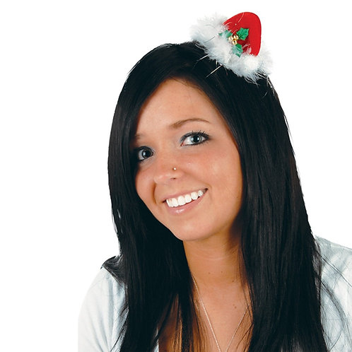 Pack of 12 Red, White and Green Santa Hat Hair Clip Christmas Party Favor Costum