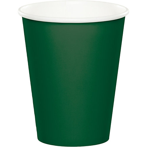 Club Pack of 240 Hunter Green Disposable Paper Hot and Cold Drinking Party Cups